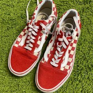 Vans red sneakers womens 8